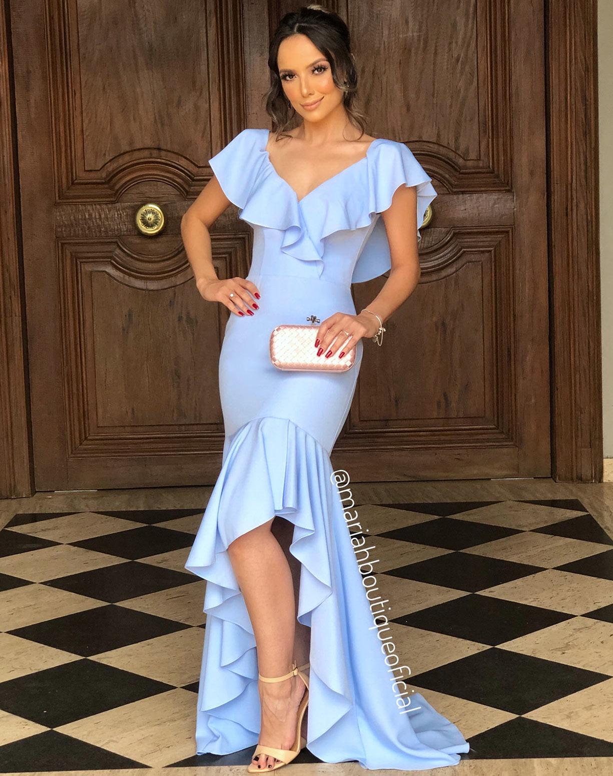 Vestido Azul Serenity com Babados