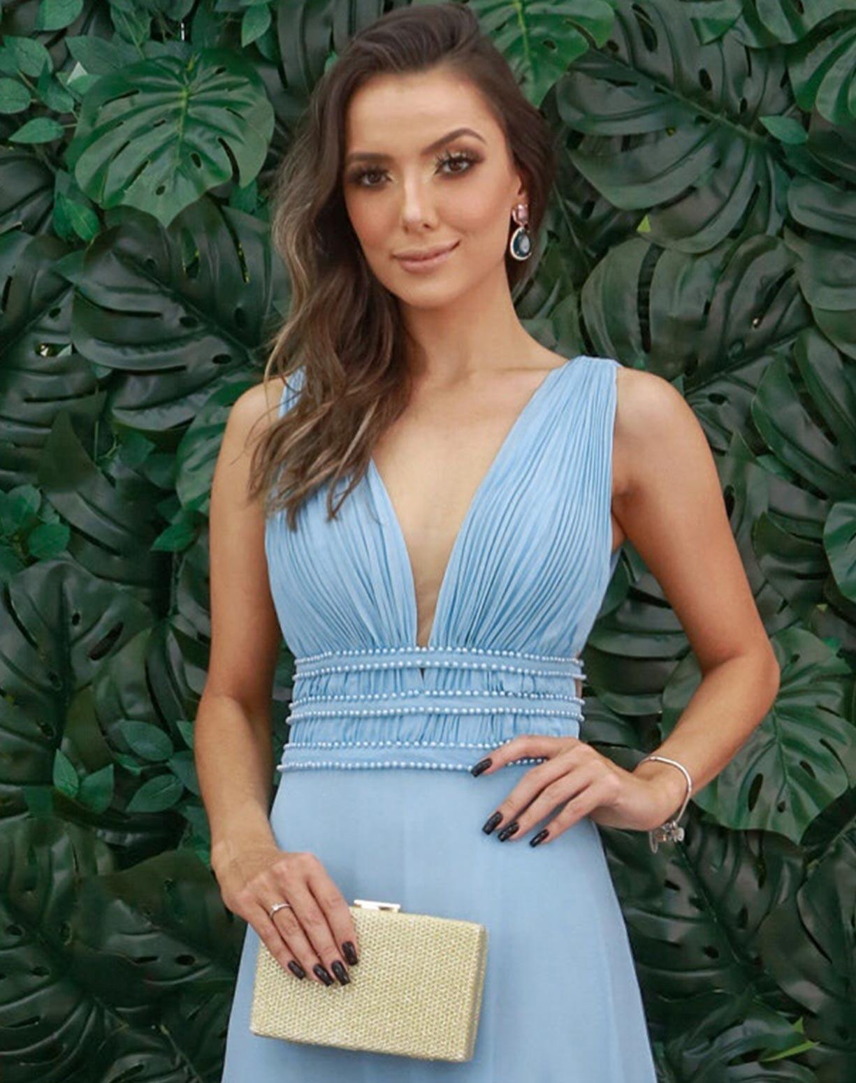 Vestido Azul Serenity com Bordados em Pérolas
