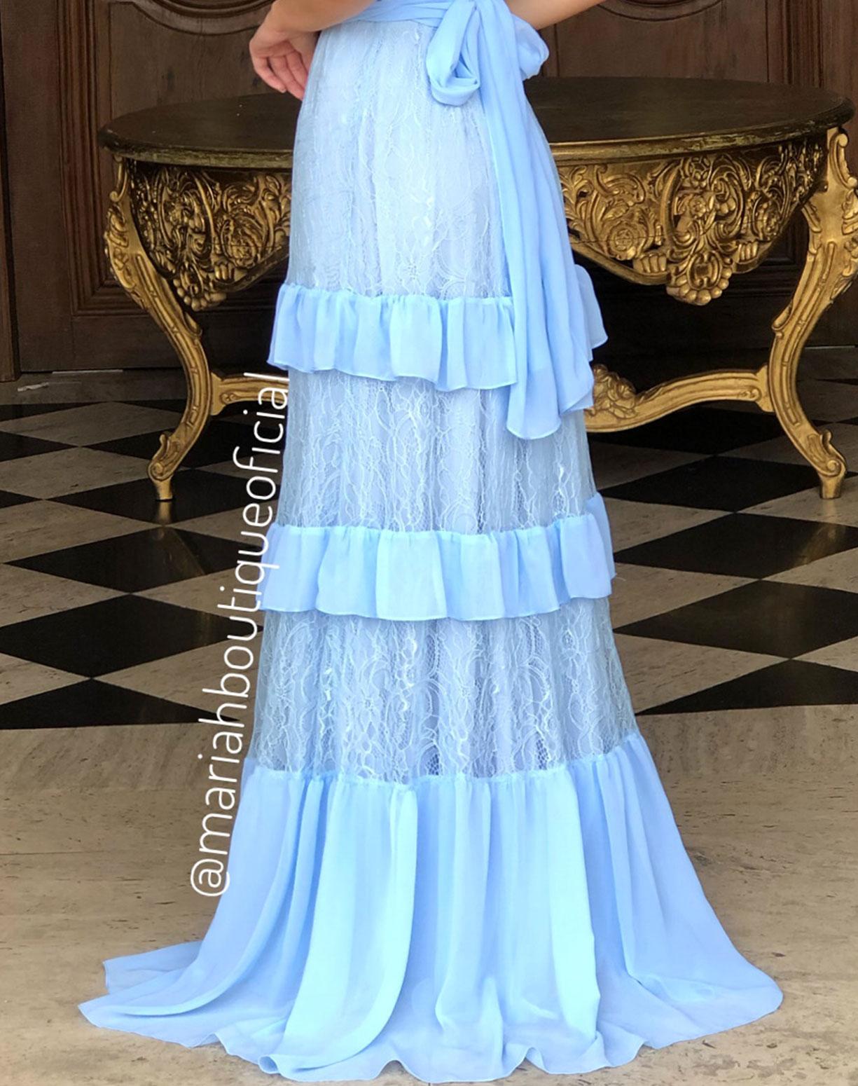 Vestido Azul Serenity com Camadas em Renda