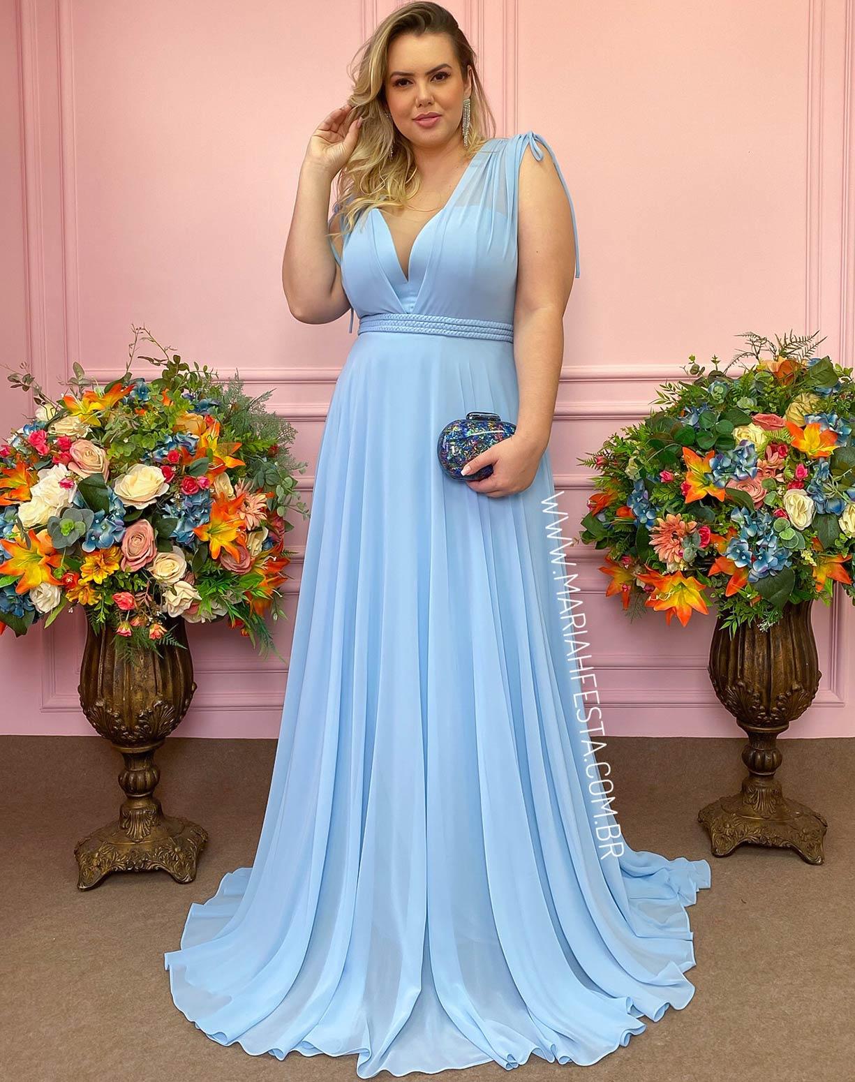 Vestido Azul Serenity com Cinto em Macramê