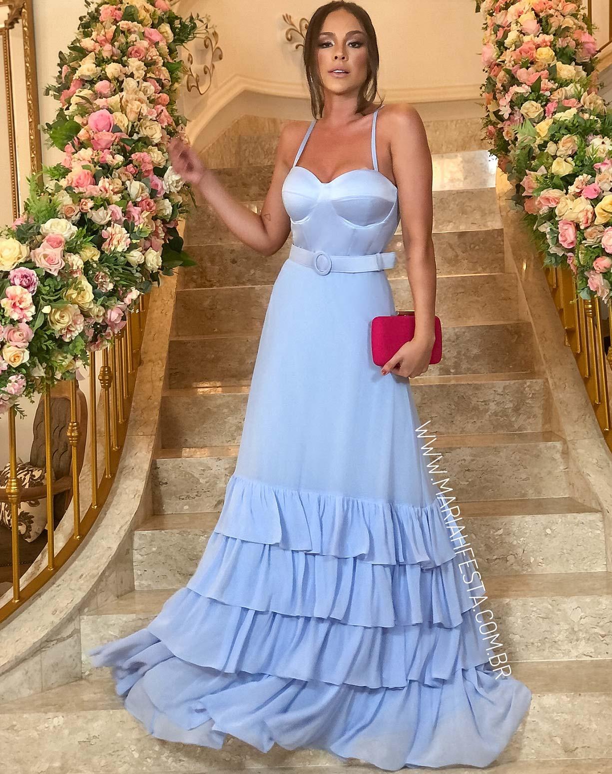 Vestido Azul Serenity com Corpete e Babados na Saia