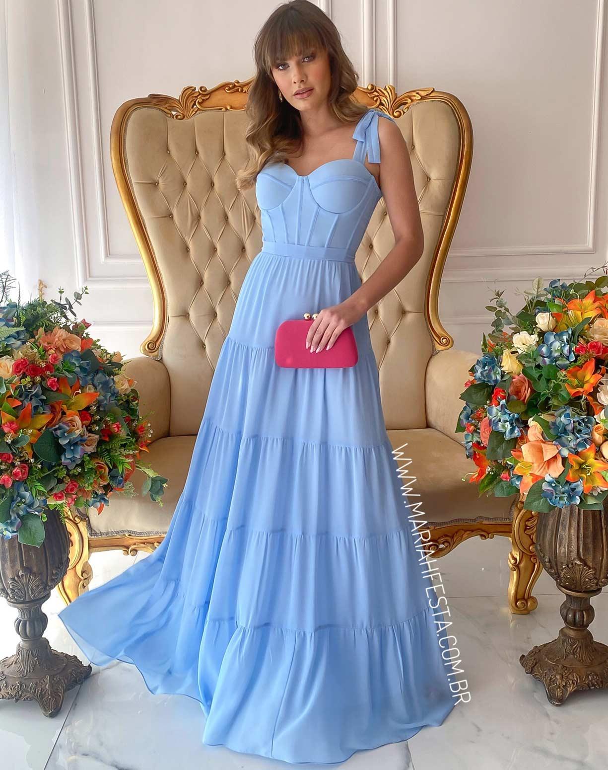 Vestido Azul Serenity com Corpete e Saia em Camadas