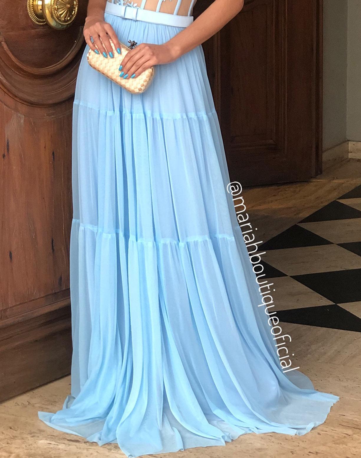 Vestido Azul Serenity com Corpete e Saia em Tule
