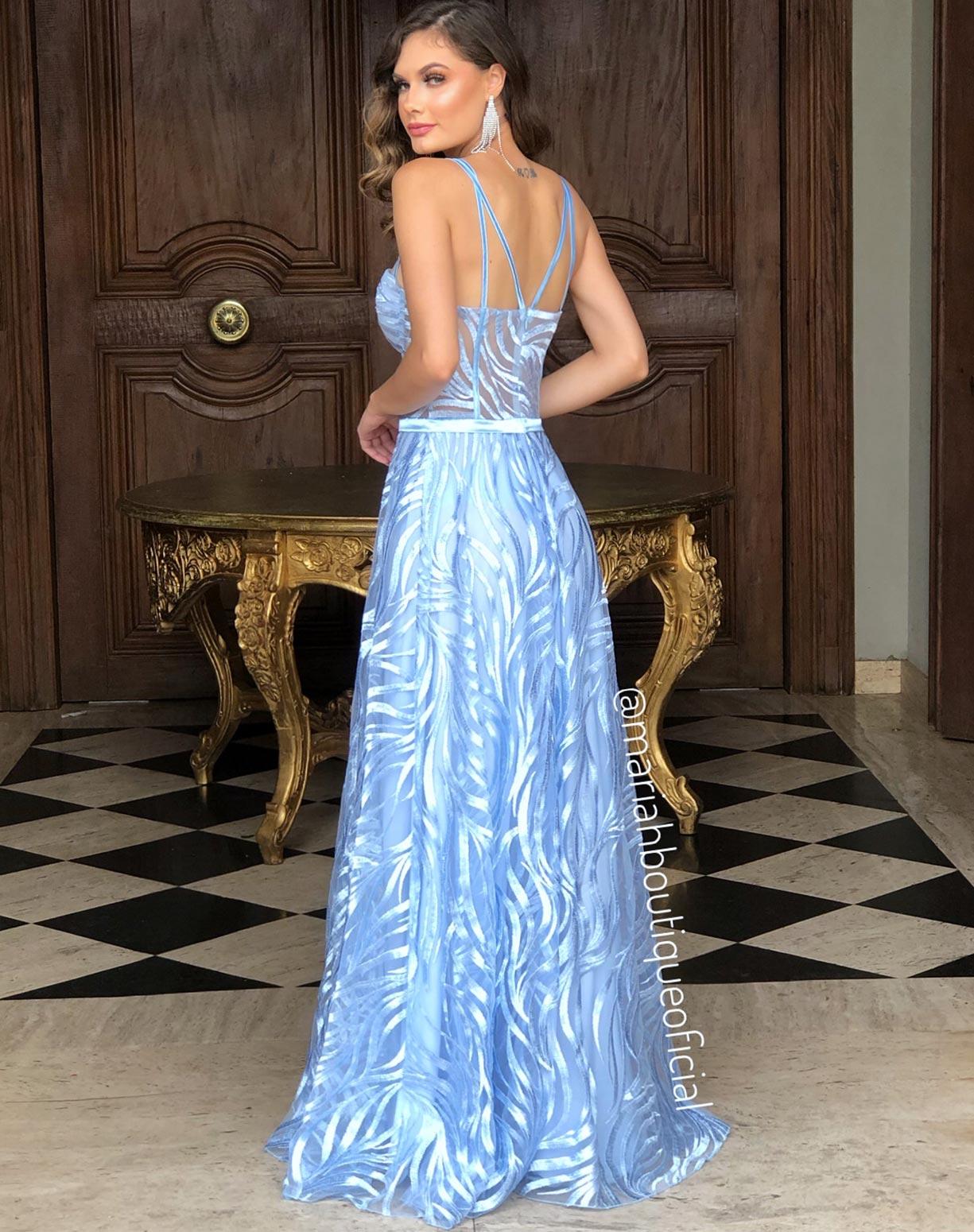 Vestido Azul Serenity com Corpete em Tule Bordado