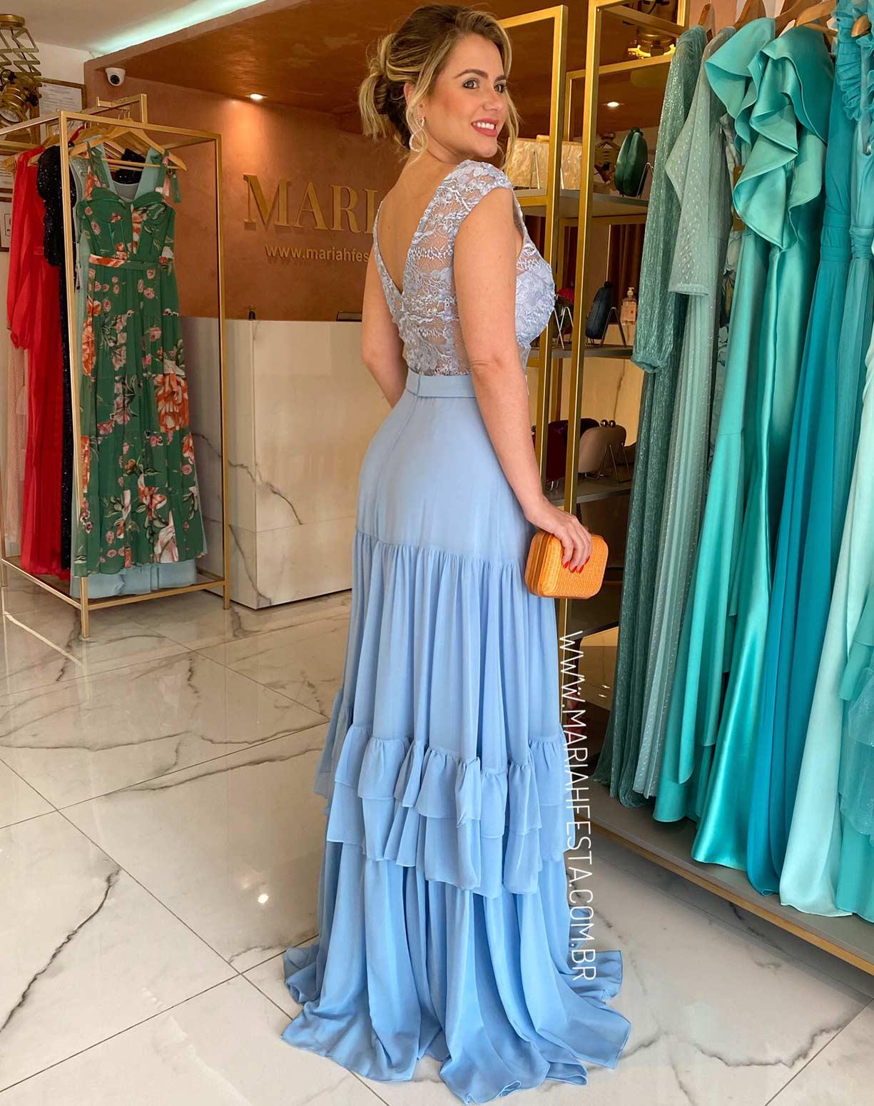 Vestido Azul Serenity com Corpo em Renda e Saia com Camadas