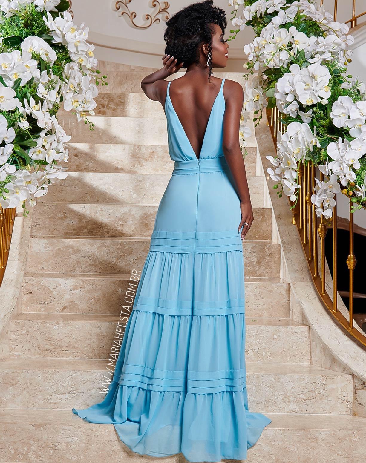 Vestido Azul Serenity  com Decote e Saia em Camadas