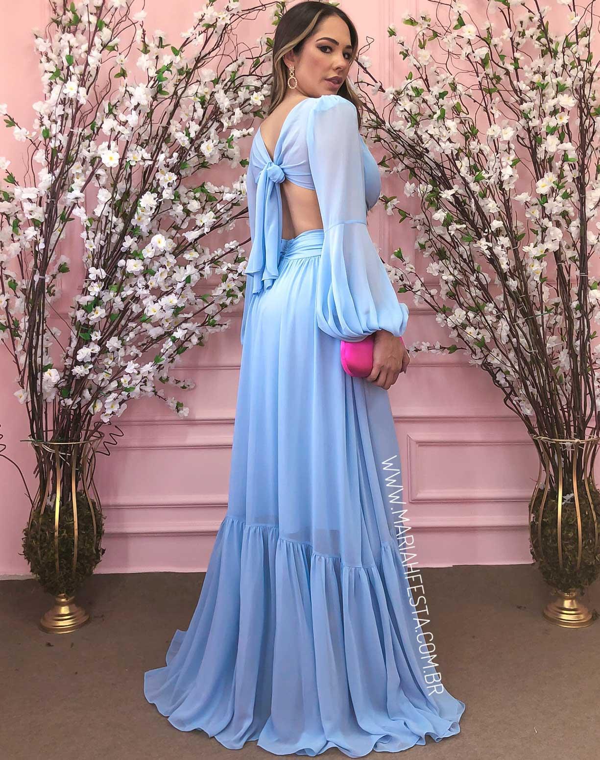 Vestido Azul Serenity com Decotes