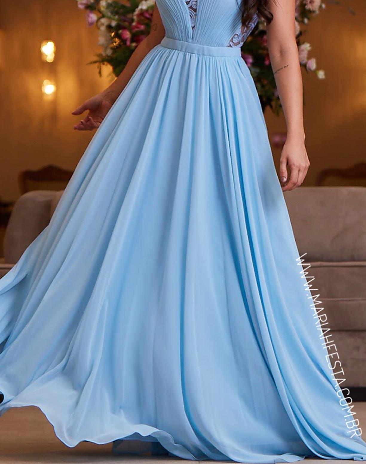 Vestido Azul Serenity com Detalhes em Renda e Saia Voal