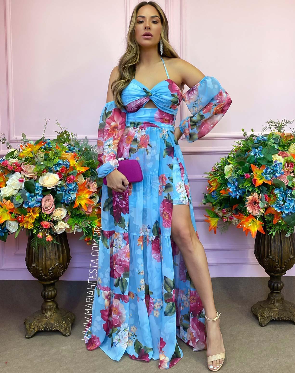 Vestido Azul Serenity com Estampa Floral e Fenda