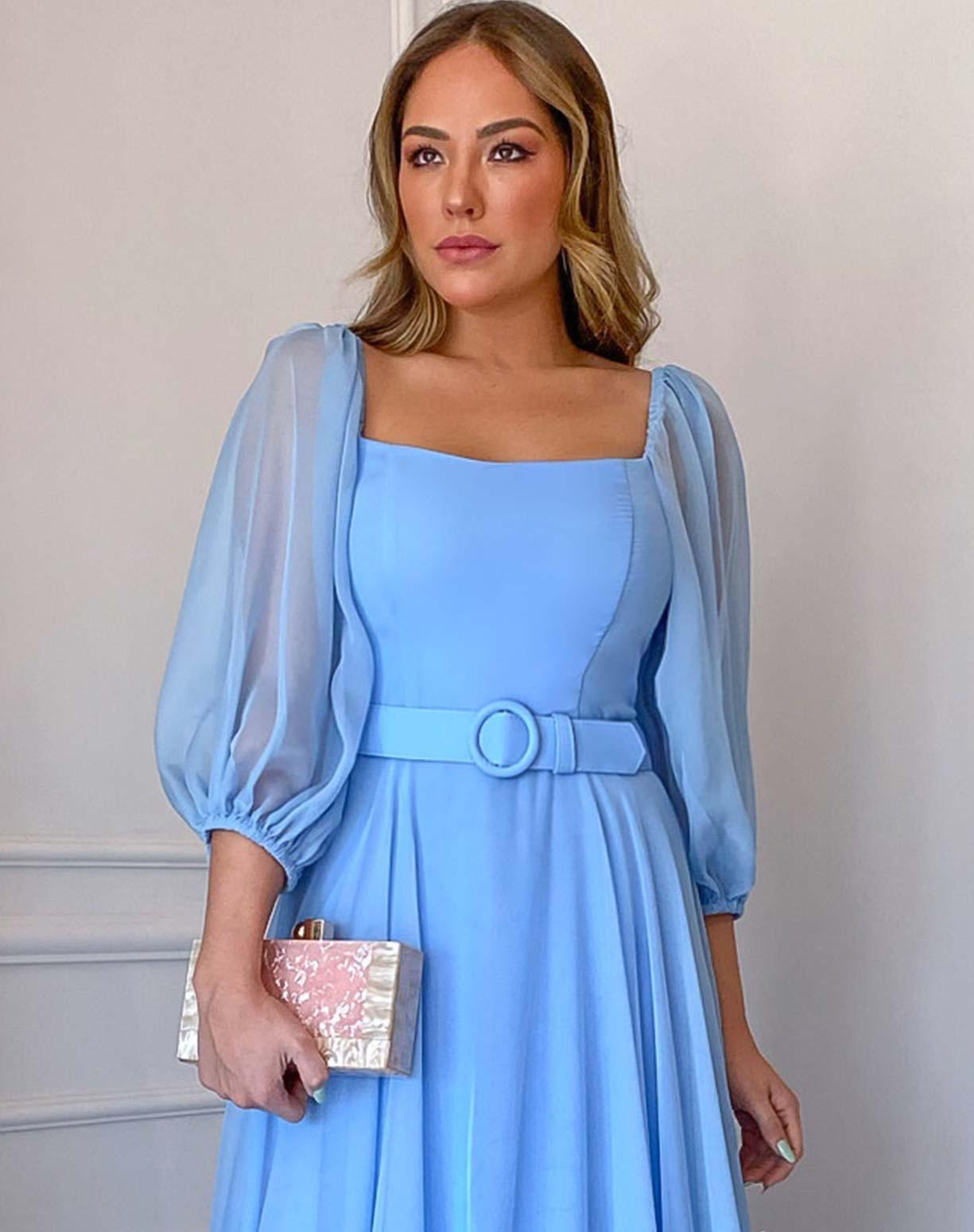 Vestido Azul Serenity com Manga Bufante
