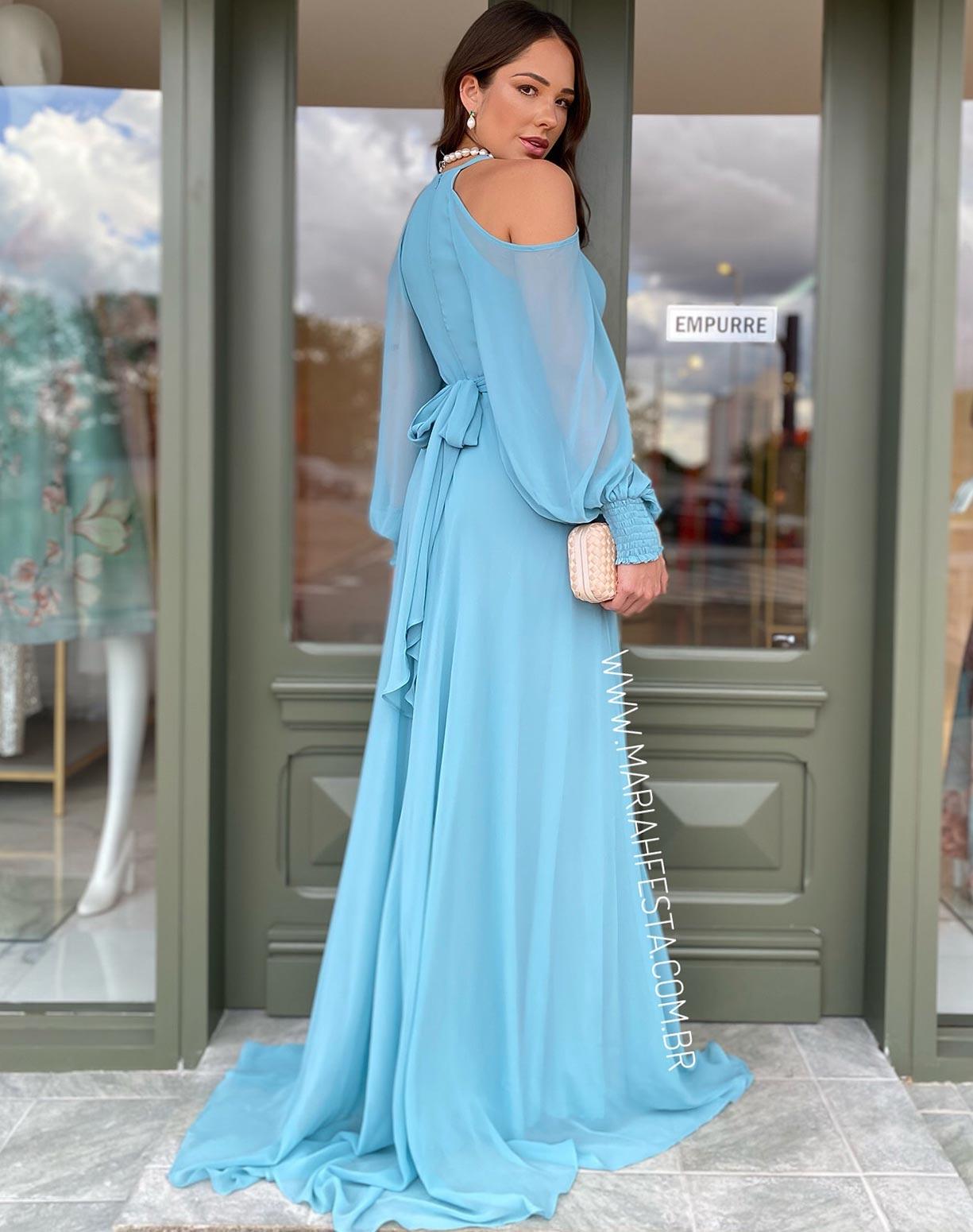 Vestido Azul Serenity com Manga Bufante Vazada no Ombro
