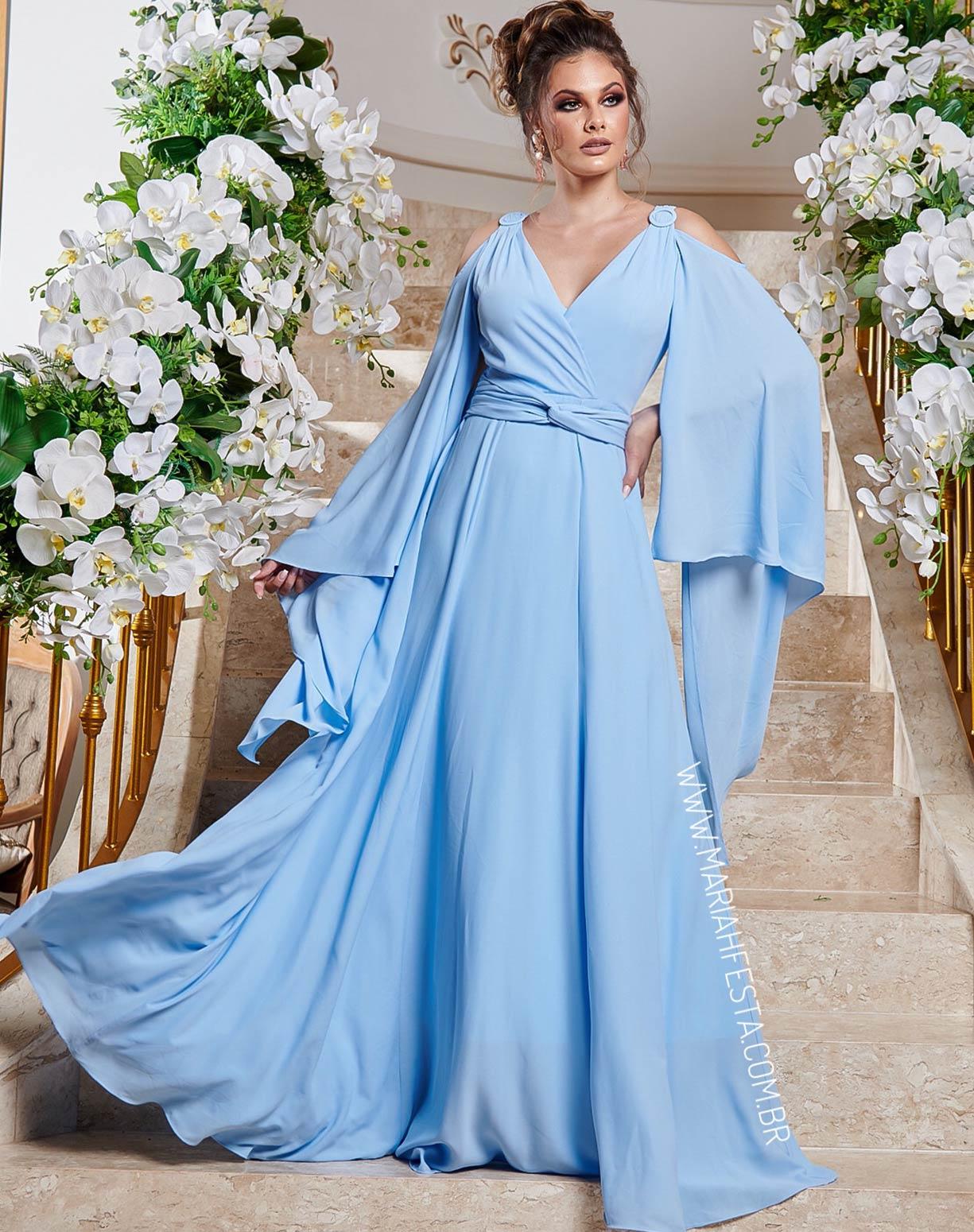 Vestido Azul serenity com Manga Capa em Crepe de Seda