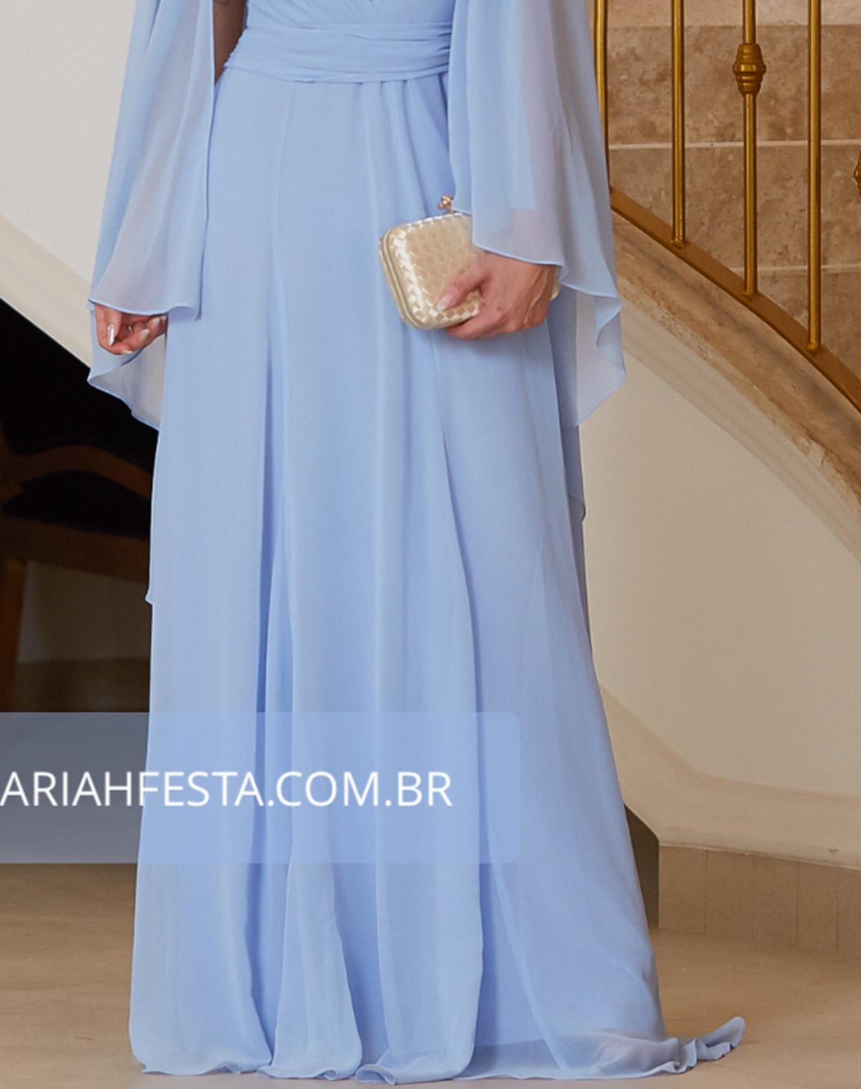 Vestido Azul Serenity com Manga Capa em Voal e Saia Evasê