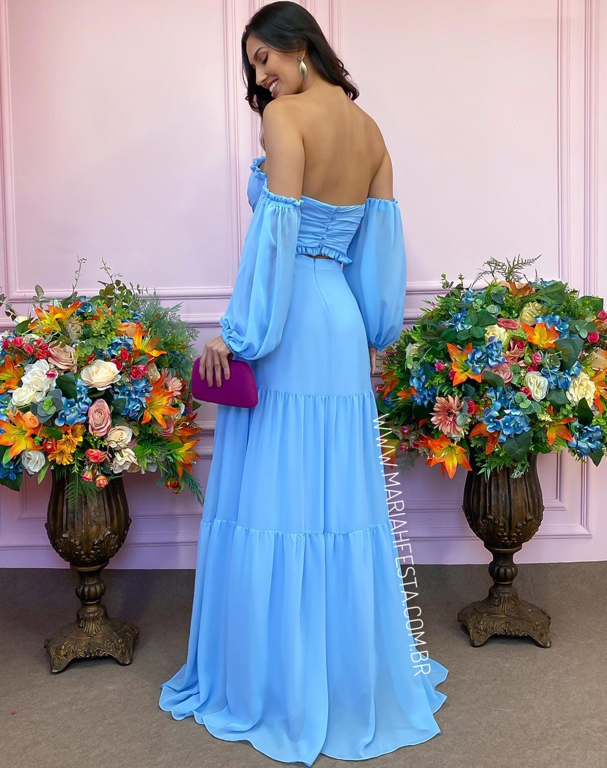 Vestido Azul Serenity com Manga Ciganinha e Decote na Cintura