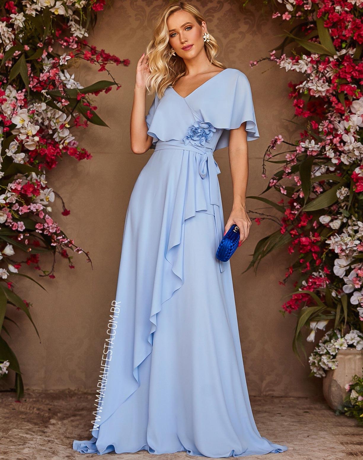 Vestido Azul Serenity com Manga Curta e Flores 3D