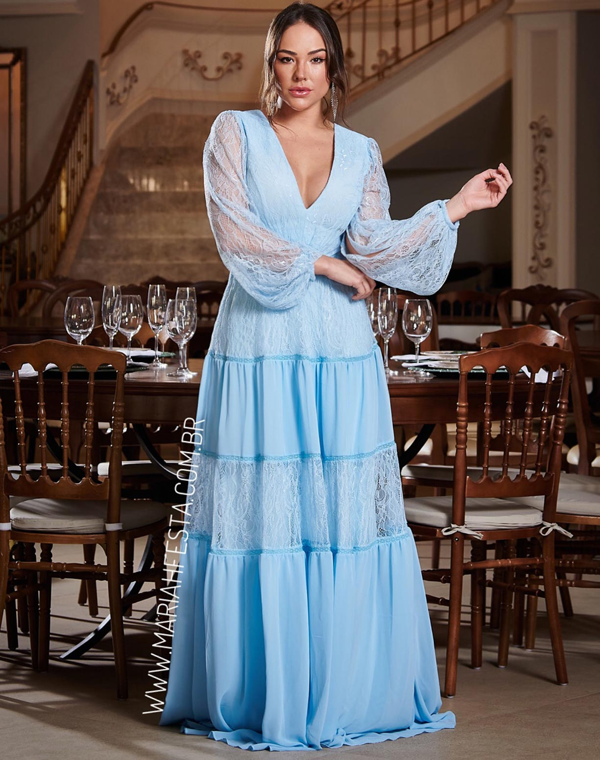 Vestido Azul Serenity Com Saia Evasê em Mix de Renda e Musseline