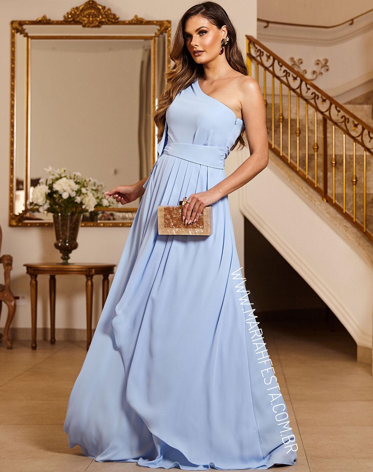 Vestido Azul Serenity de um Ombro só Com Drapeado na Saia