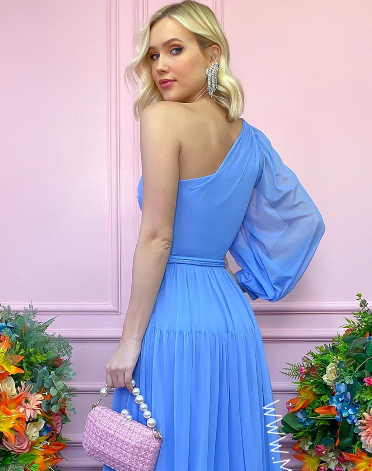 Vestido Azul Serenity de um Ombro Só