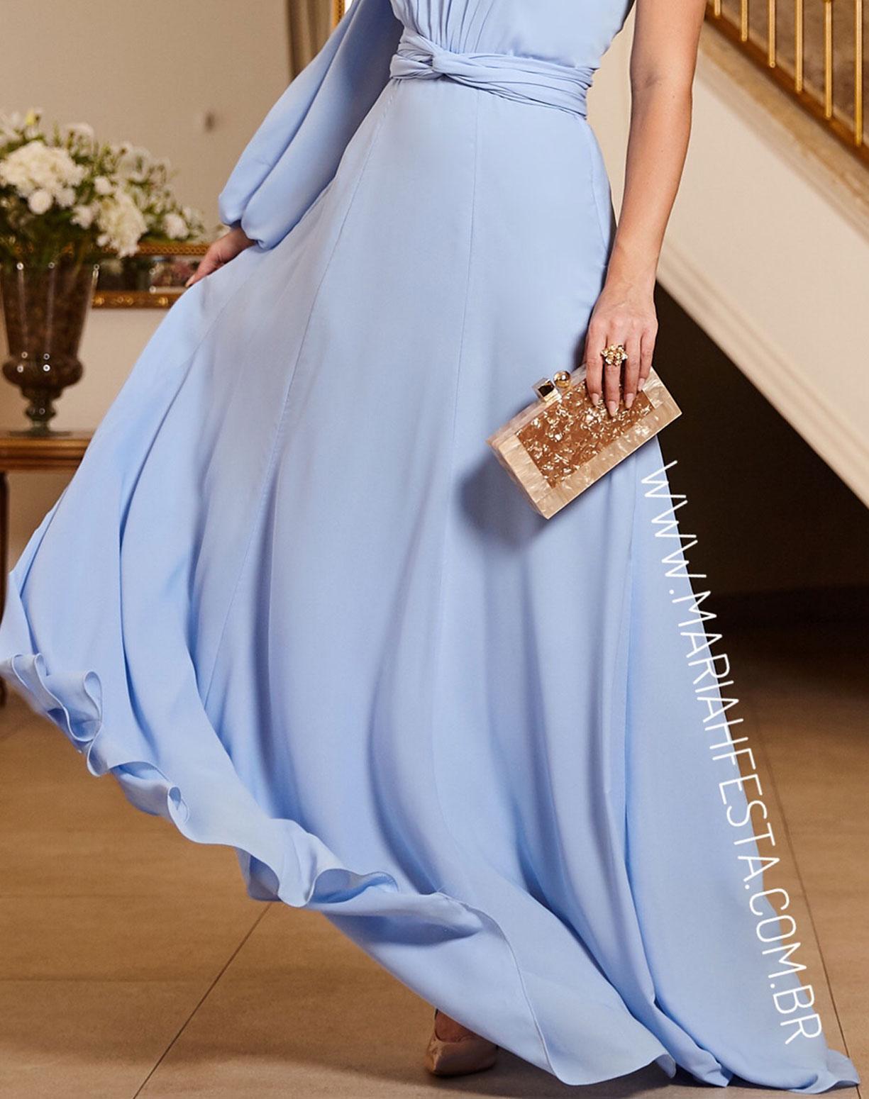 Vestido Azul Serenity de um Ombro só Manga Bufante