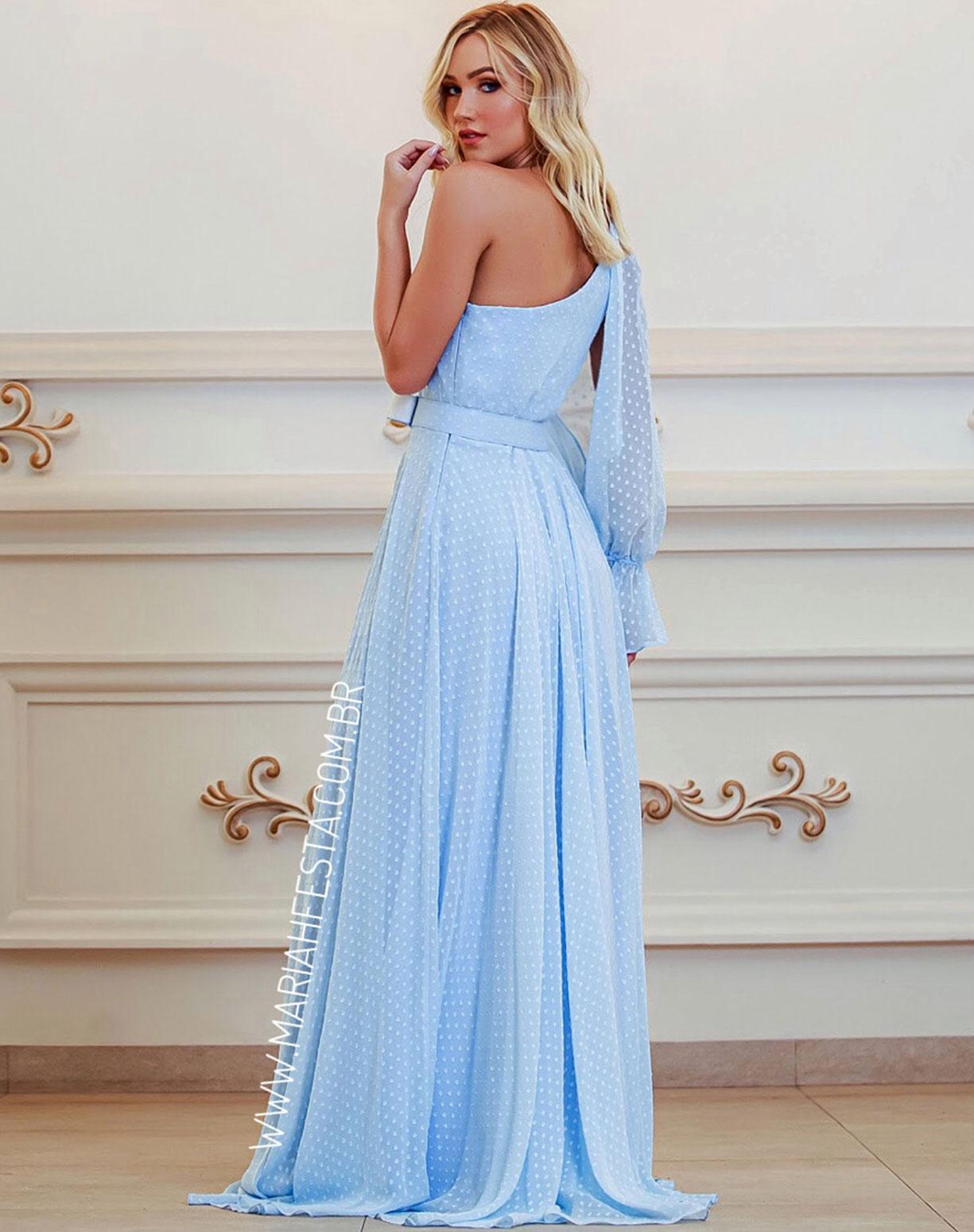 Vestido Azul Serenity de um Ombro Só Texturizado