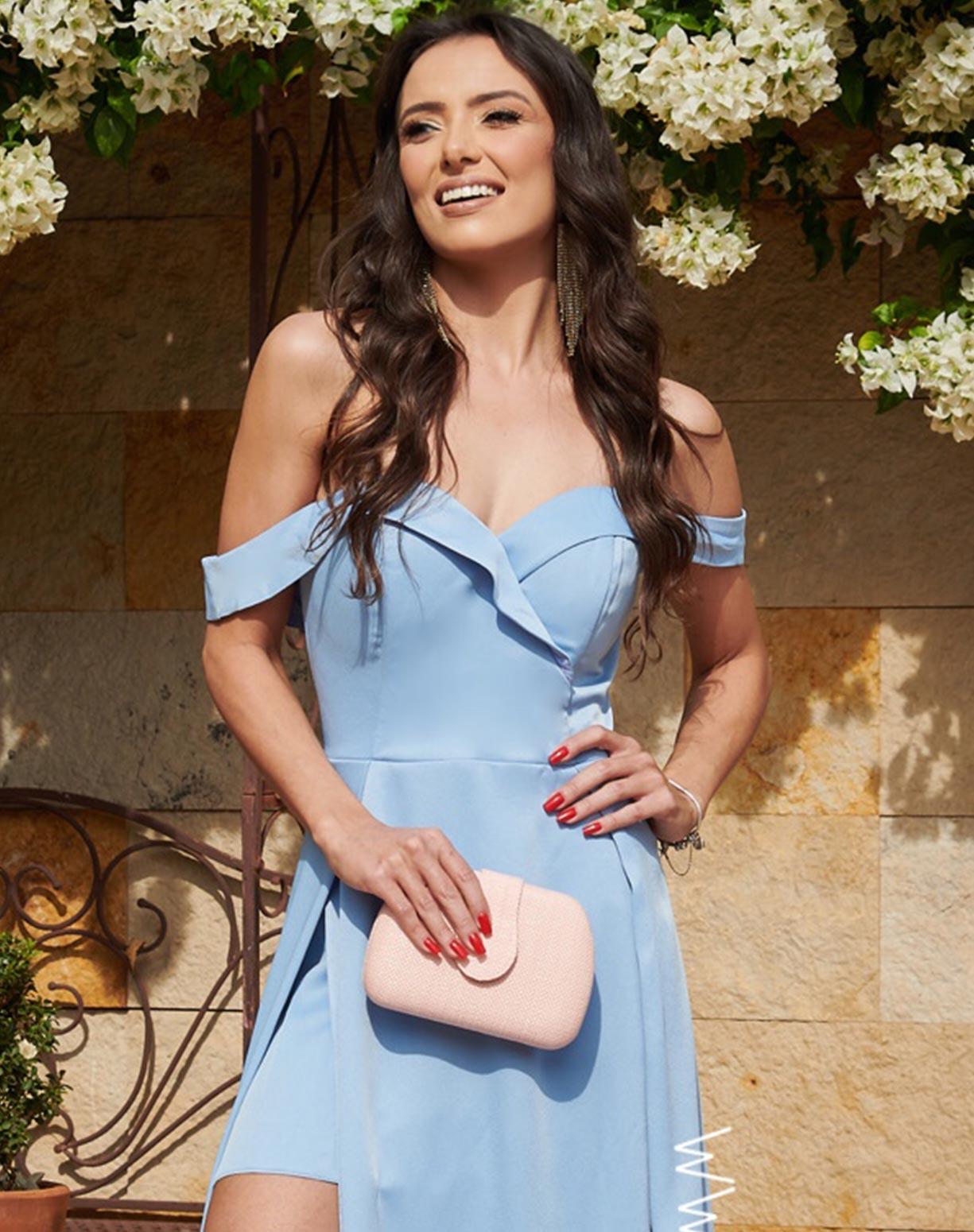 Vestido Azul Serenity Decote Ombro a Ombro