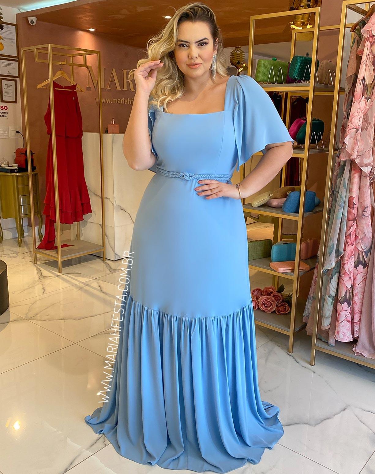 Vestido Azul Serenity Decote Quadrado