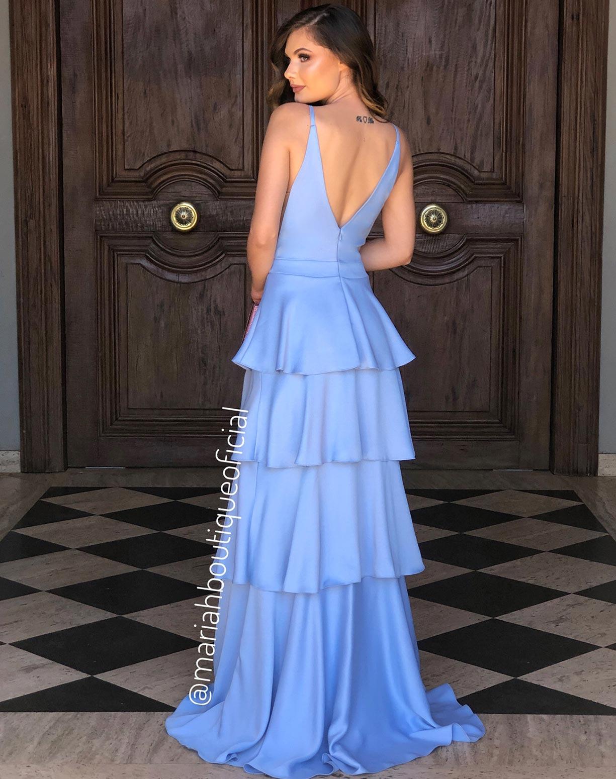 Vestido Azul Serenity em Camadas