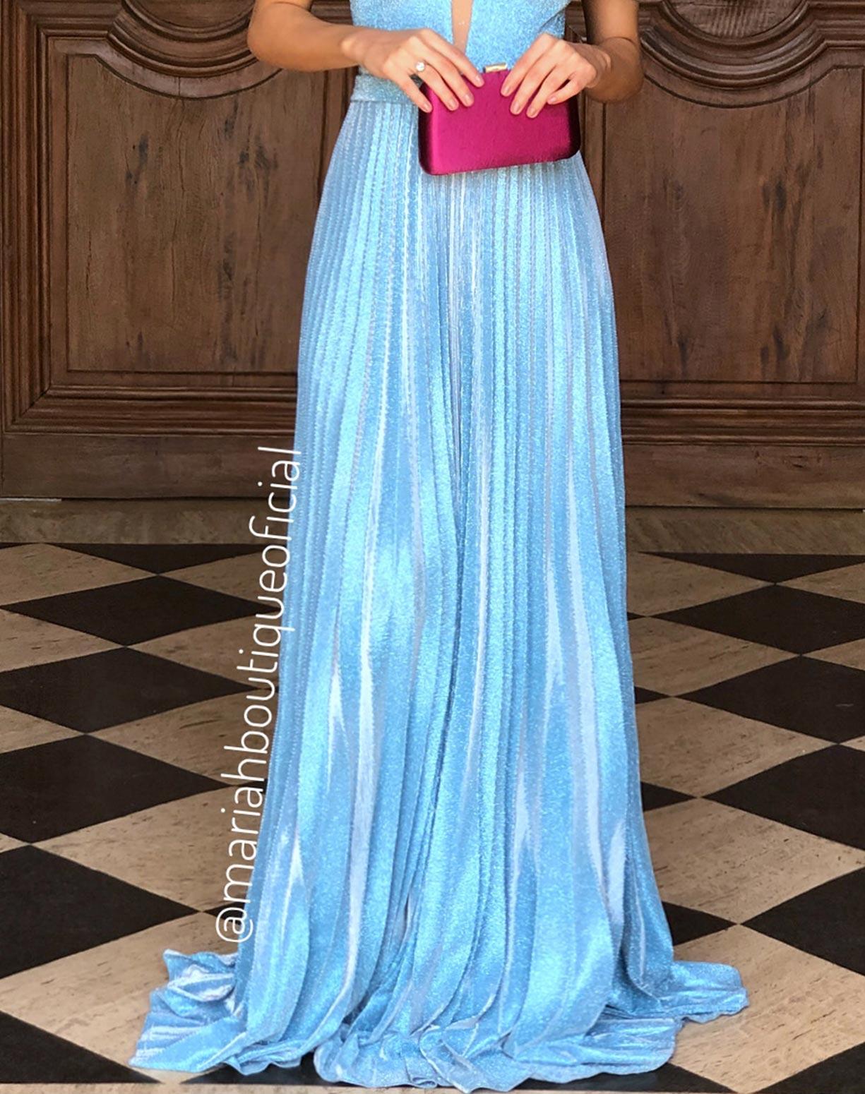 Vestido Azul Serenity em Lurex com Glitter
