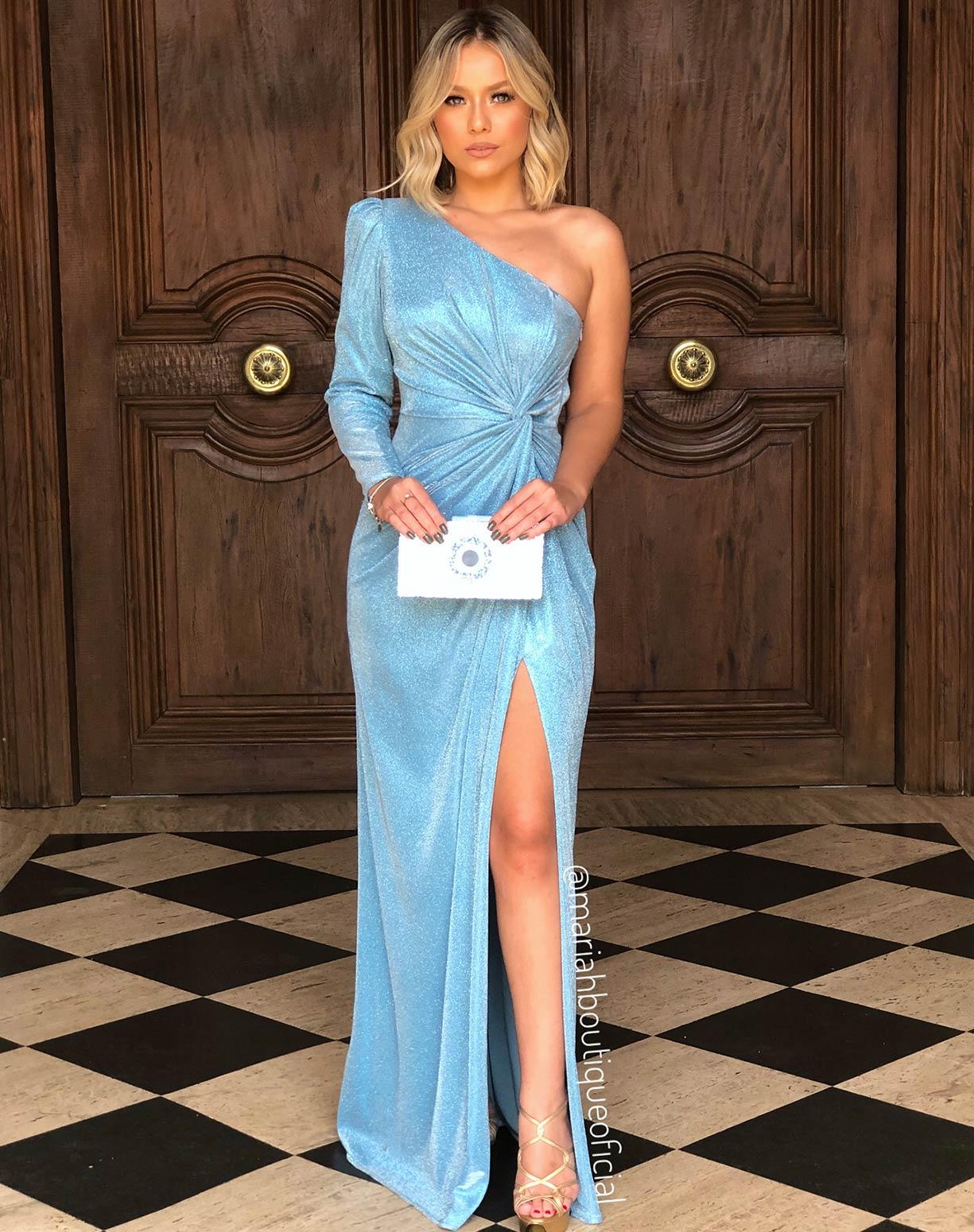 Vestido Azul Serenity em Lurex com Glitter de um ombro só