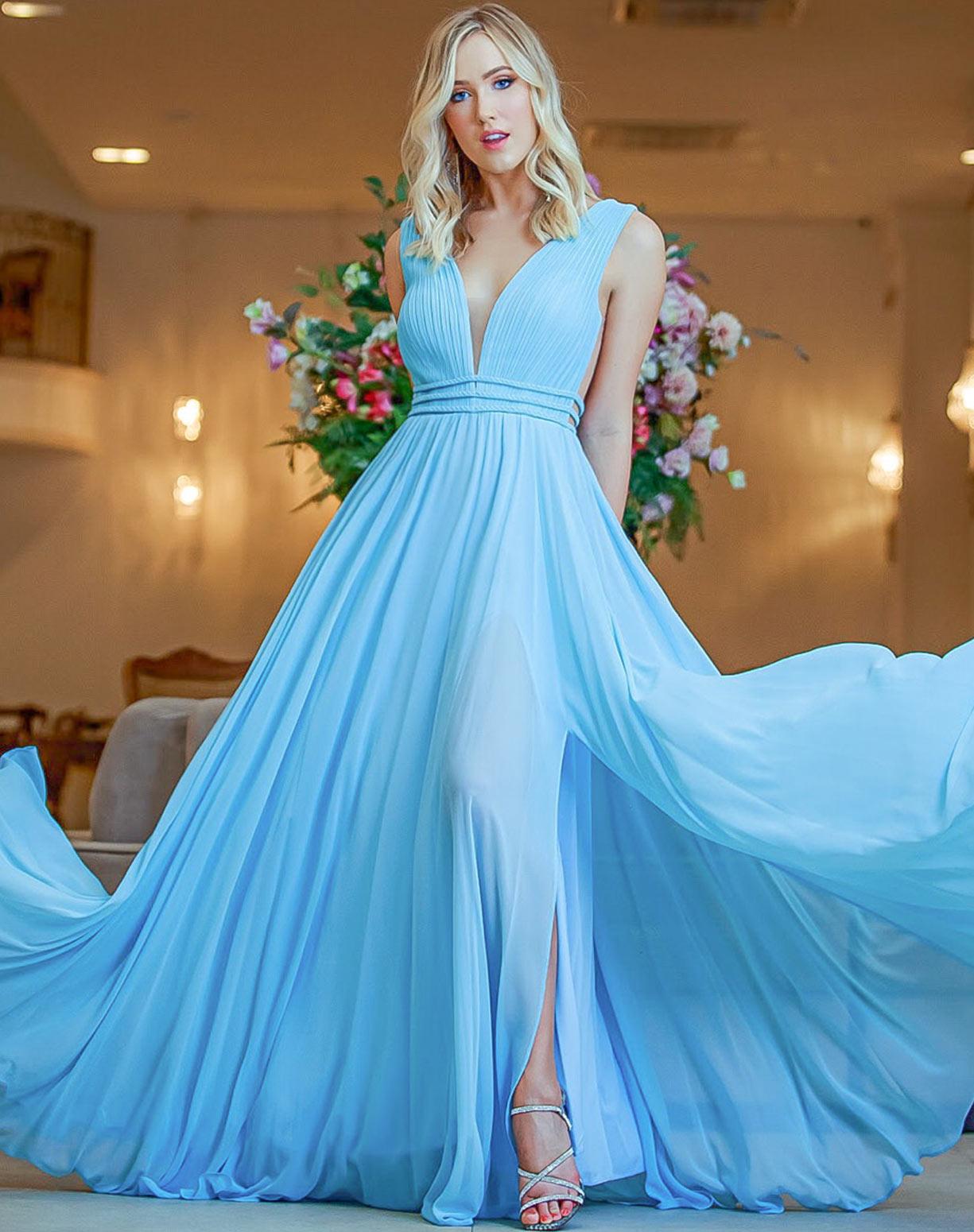 Vestido Azul Serenity em Musseline com Detalhes em Macramê