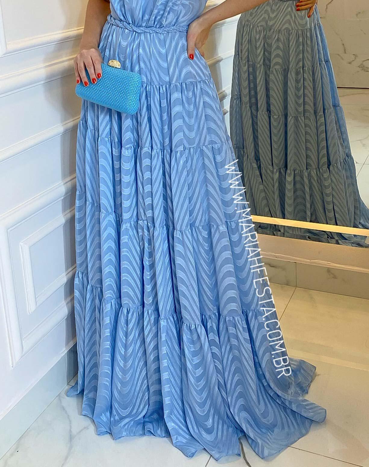Vestido Azul Serenity em Musseline Texturizado com Decote nas Costas