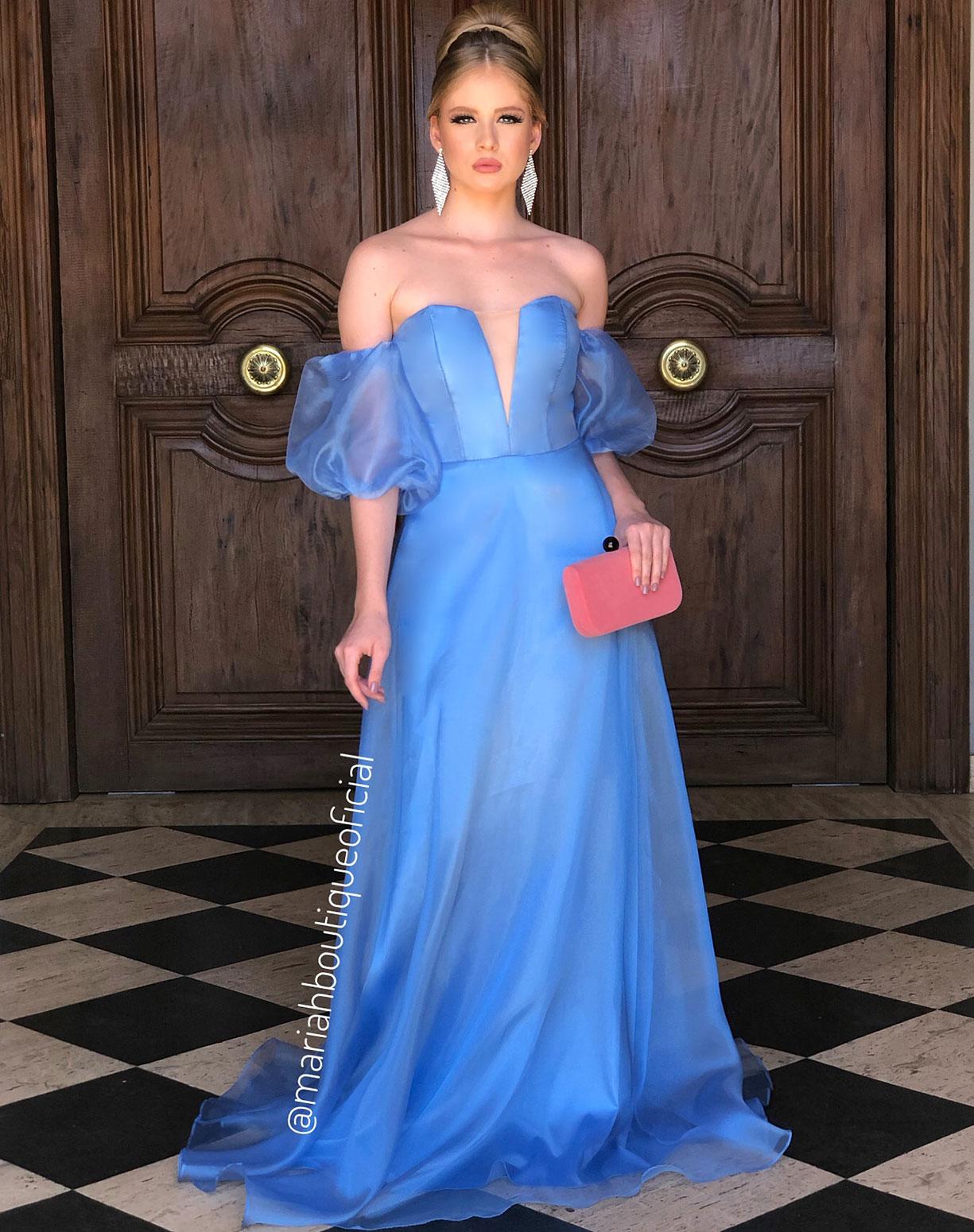 Vestido Azul Serenity em Organza