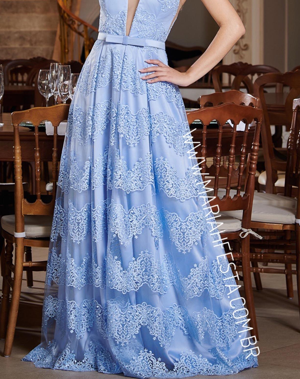 Vestido Azul Serenity em Renda com Cinto