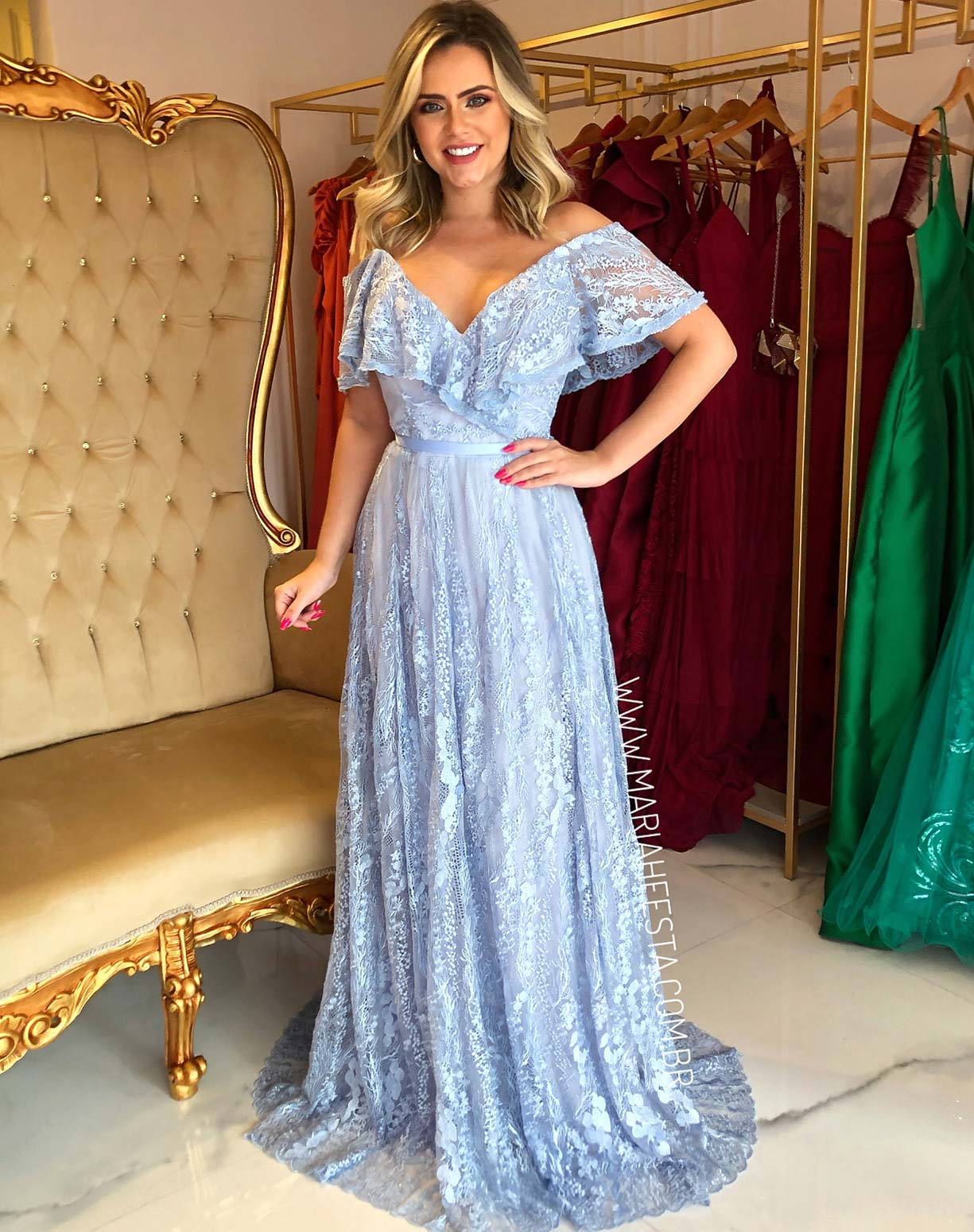 Vestido Azul Serenity em Renda com Saia Evasê