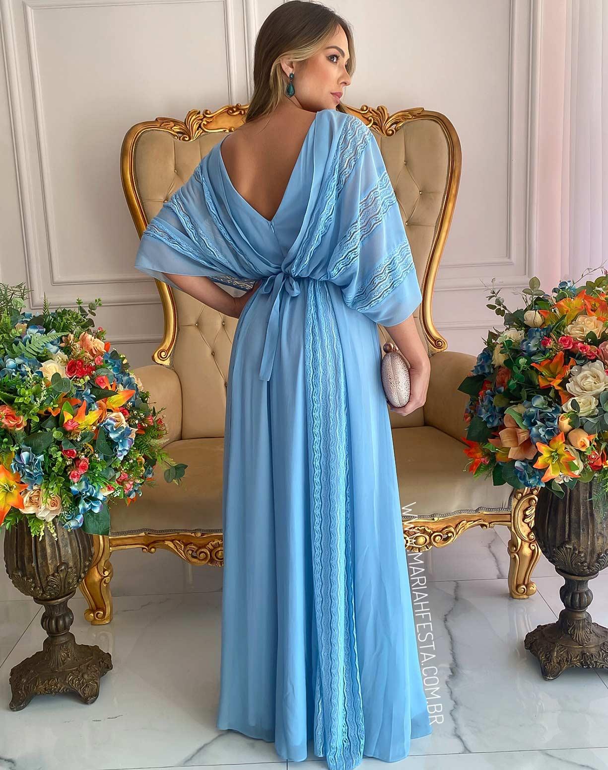 Vestido Azul Serenity em Renda e Chifon de Seda