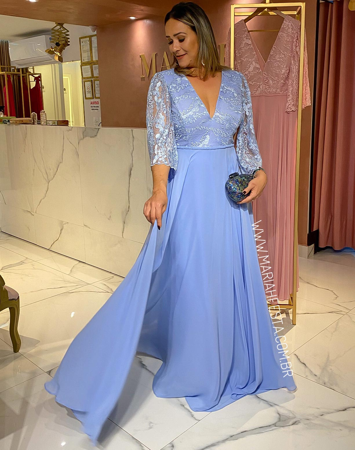 Vestido Azul Serenity em Renda e Crepe de Seda