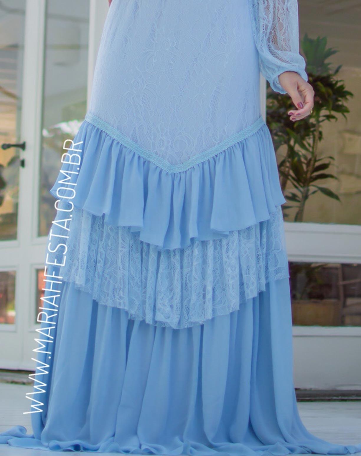 Vestido Azul Serenity em Renda e Musseline com Manga Bufante e Babados na Saia