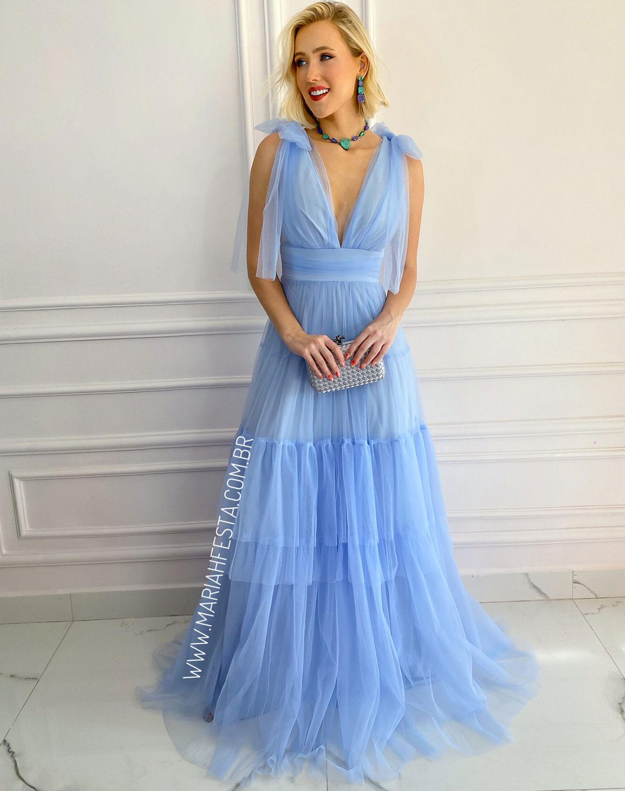 Vestido Azul Serenity em Tule com Alça de Amarrar e Saia com Babados