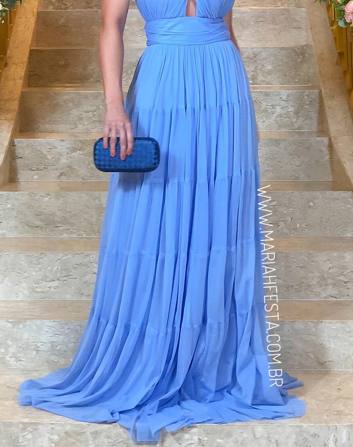 Vestido Azul Serenity em Tule com Alças Transpassadas