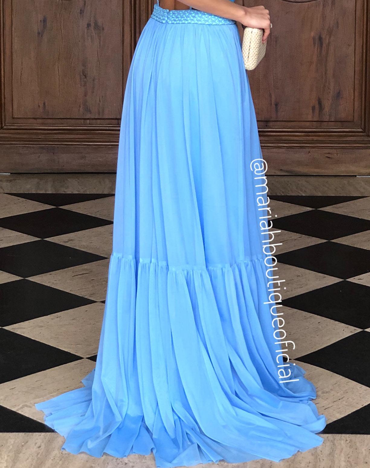 Vestido Azul Serenity em Tule com Cinto
