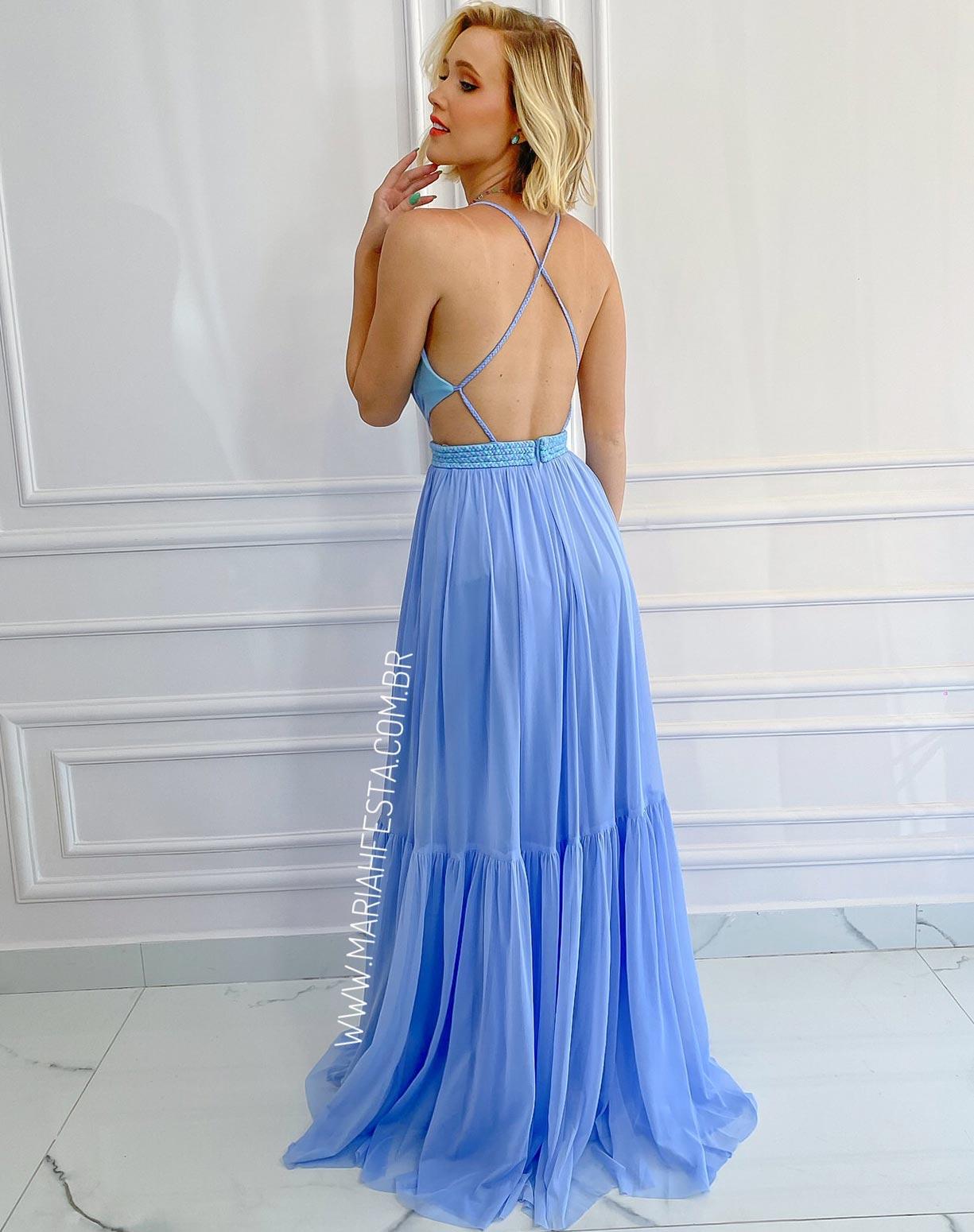 Vestido Azul Serenity  em Tule com Cinto em Macramê com detalhe Tiffany
