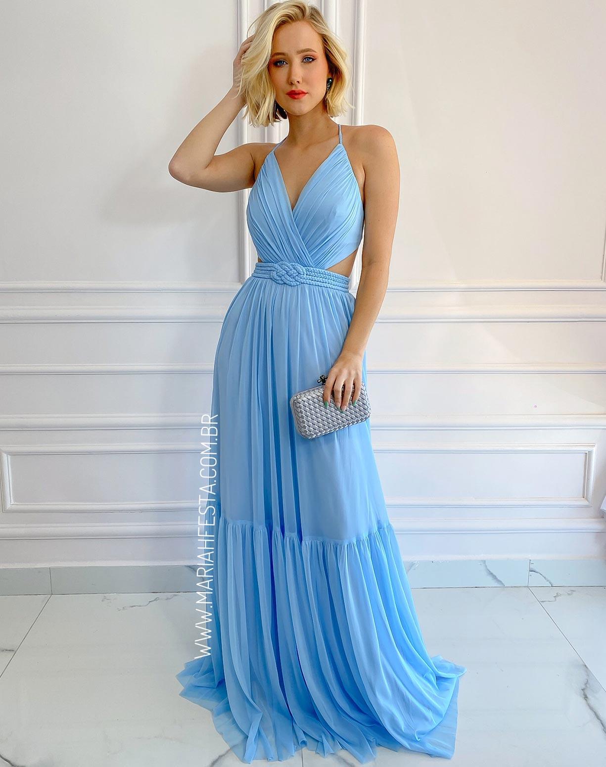 Vestido Azul Serenity em Tule com Cinto em Macramê