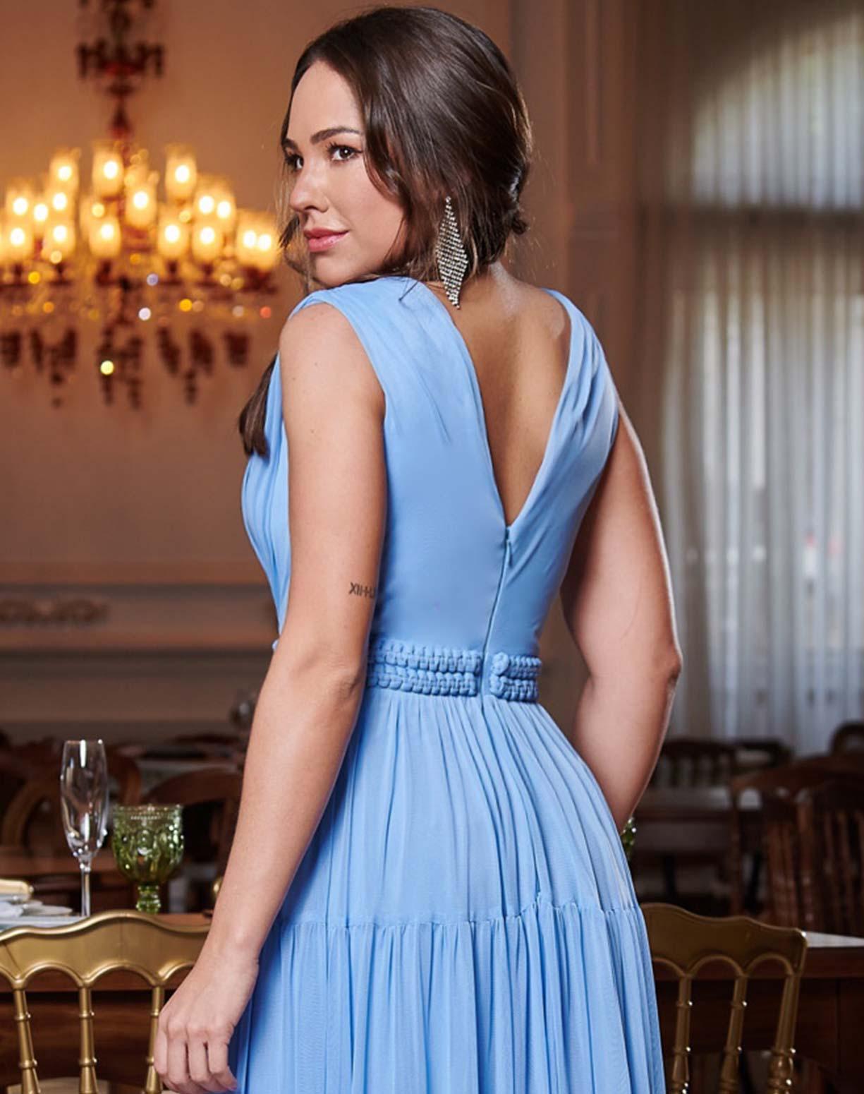 Vestido Azul Serenity em Tule com Cinto Fixo em Macramê