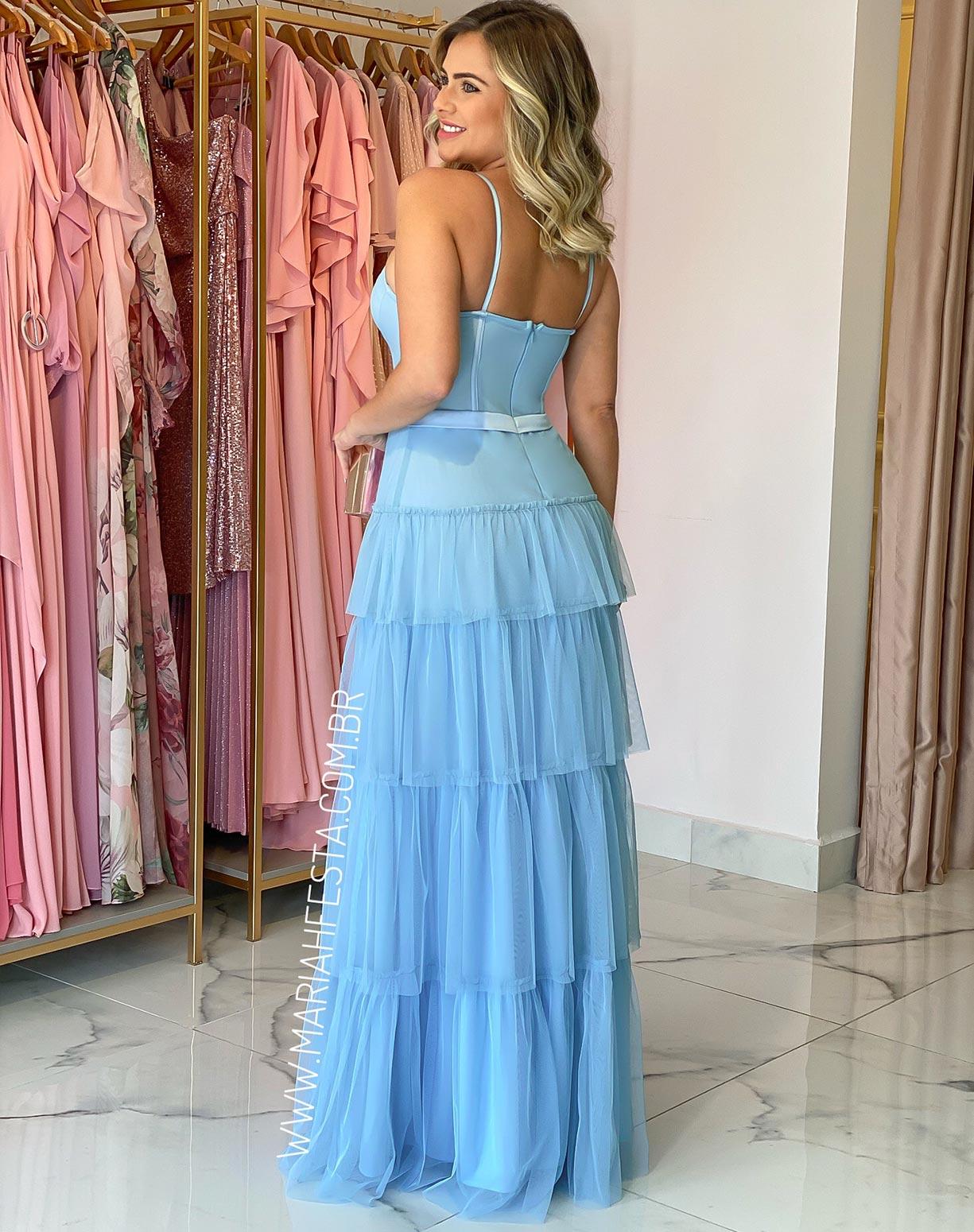 Vestido Azul Serenity em Tule com Corpete