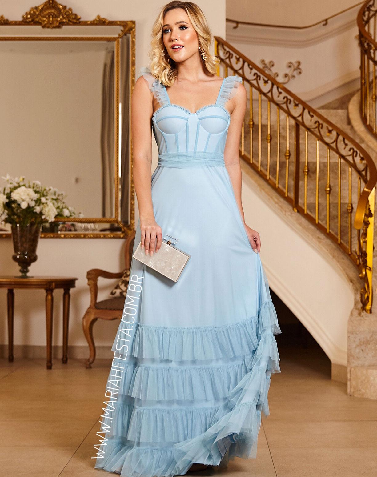 Vestido Azul Serenity em Tule com Corpete e Camadas na Barra