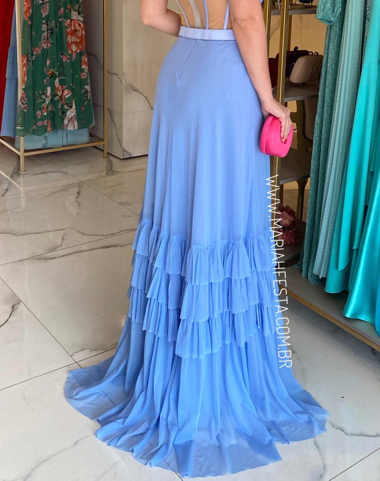 Vestido Azul Serenity em Tule com Corpete em Transparência