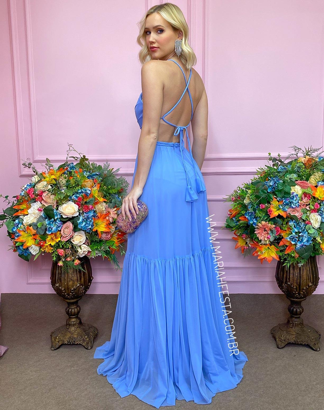 Vestido Azul Serenity em Tule com Detalhes em Macramê
