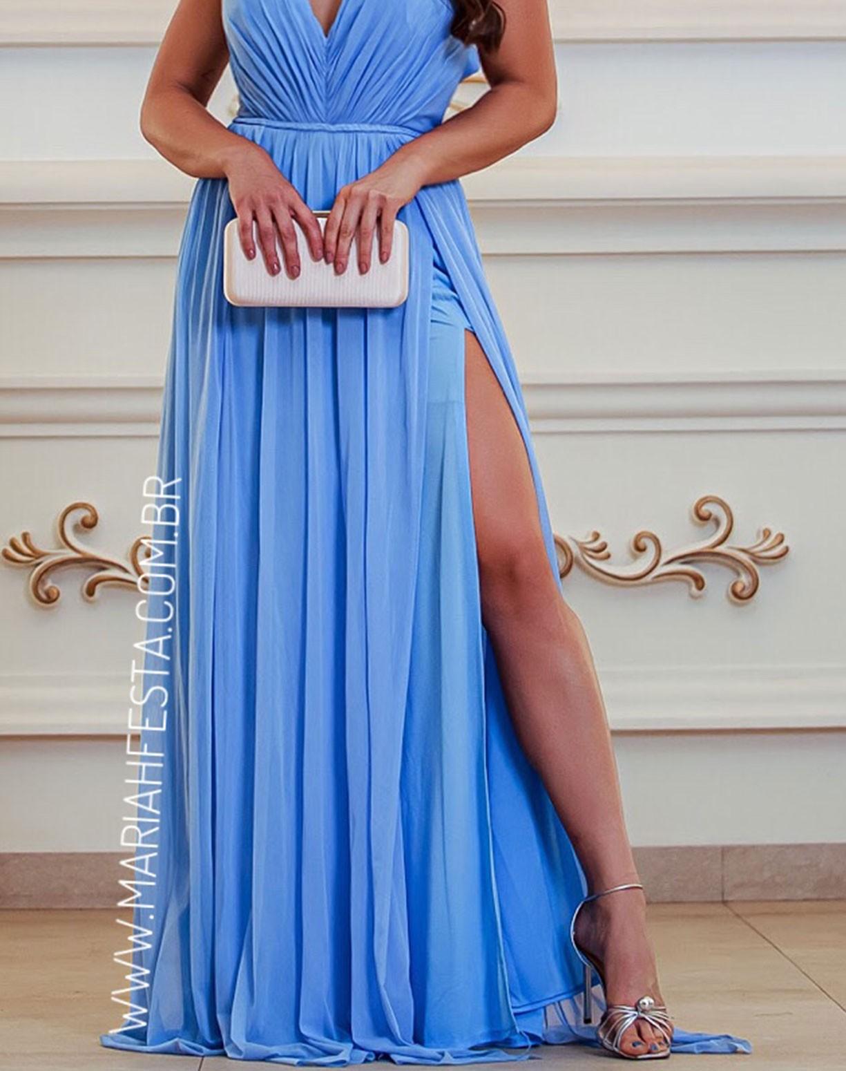Vestido Azul Serenity em Tule Com Fenda
