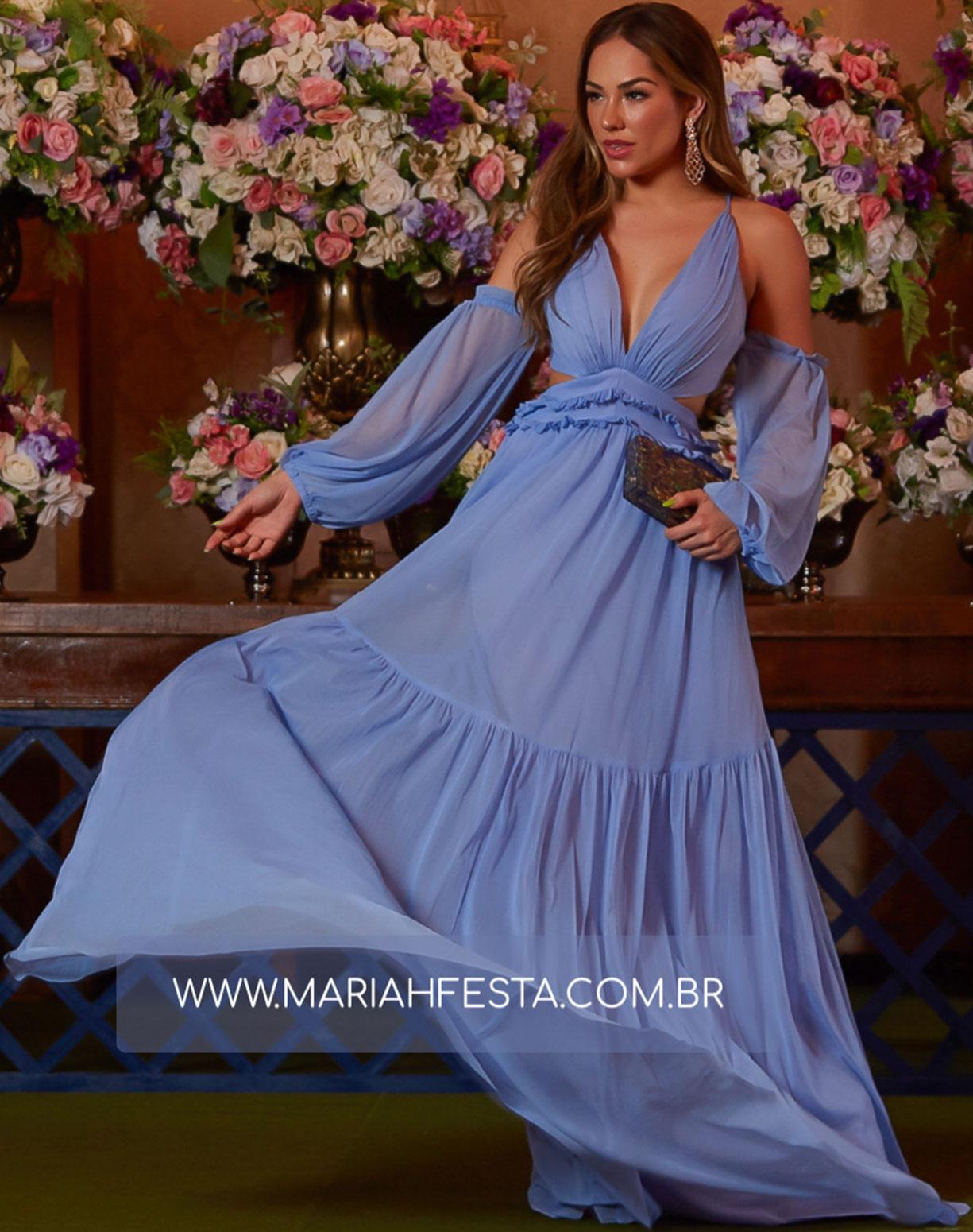 Vestido Azul Serenity em Tule com Manga Ciganinha e Decote na Lateral