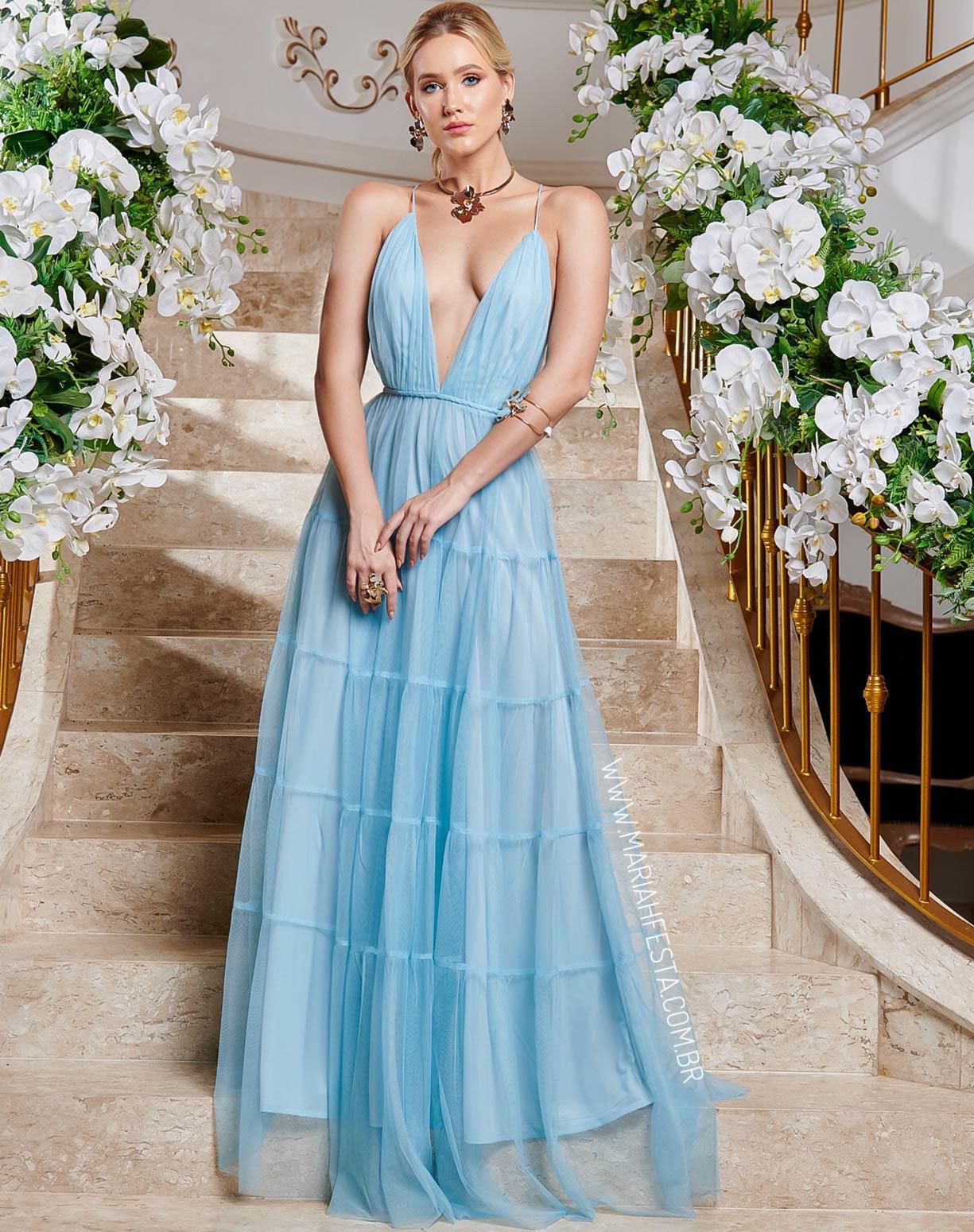 Vestido Azul Serenity em Tule com Saia em Camadas e Decote nas Costas